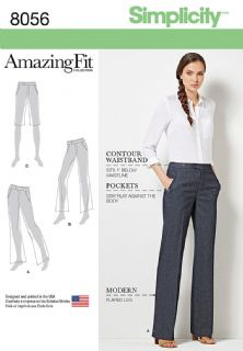 8056 Simplicity Pattern: Misses' and Women's Flared Trousers for Slim, Average or Curvy Fit